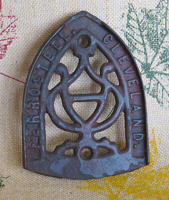 Antique Cast Iron Sad Iron Trivet  Ferro Steel Cleveland - Ornate