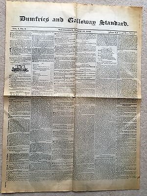 Rare Dumfries and Galloway Standard Vol. 1 No. 1 - March 29th 1843