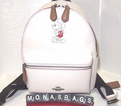 Coach Disney Mickey Mouse Mini Charlie Chalk Leather Backpack F59837 NWT $395