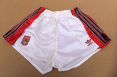 """Vintage adidas Arsenal Football Club Shorts, White with Red Trim, Size 32"""""""