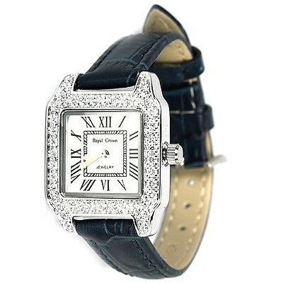 31X23 Mm Aaa White Cz Stainless Steel Leather Adjustable Watch Length 8 Inch