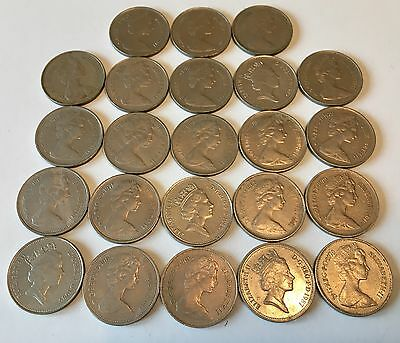 Old British Large 5p Pence Coins - Great British Coin Hunt - 23 COINS