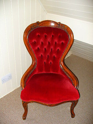 Vintage Nursing Chair/ Red Buttoned Spoon-back/Victorian Style/Excellent V.Con.