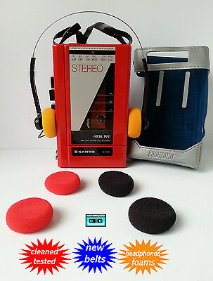 SANYO Walkman cassette radio player NEW BELTS CLEANED WORKING & TESTED!