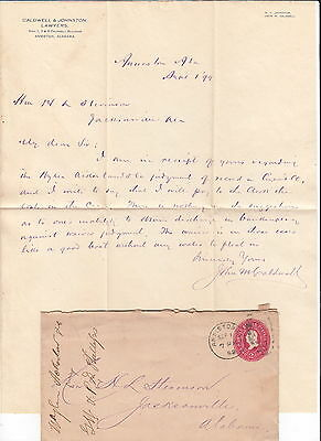 1899 Anniston Alabama Letter - John W Caldwell, Lawyer w/ Postal Cover