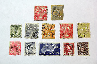 Lot of 12 Australia  Postal  Postage Stamps Mixed Perfin Collection    AUS013