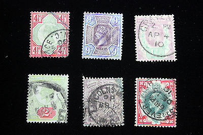 Lot of 6 Very Rare Great Britain  Postal  Postage Stamps  $20 + ea   GREAs004