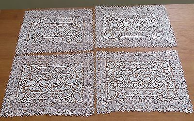 4 Lace Placemats Needlelace Reticella Antique Table Dresser Mat Set Cotton Ecru