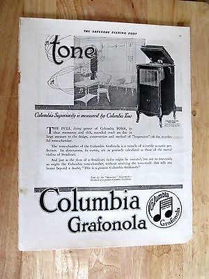 1917 Columbia Grafonola Phonograph Print ad  10 x 13 inches