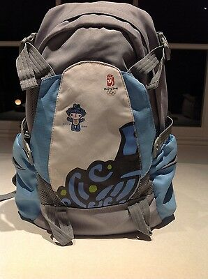 Beijing Olympic 2008 Back Pack large blue & grey