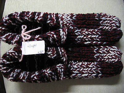 New Hand Knit Slippers Burgundy/Black/White Ladies 3X Lg Mans 2X Lg 11 1/2""