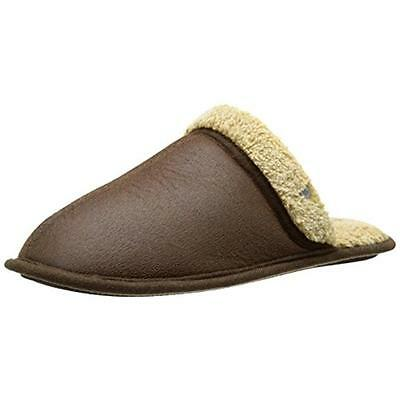 Dockers 0355 Mens Brown Plush Faux Leather Clog Slippers Shoes M 8-9 BHFO