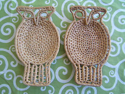 Vintage Owl Trivets / hot pads lot of 2, woven, straw, rattan, 70's, mid century