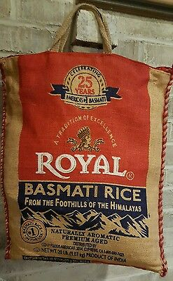 "Royal Basmati Rice Burlap Bag with Zipper Top and Handles 15 X 18"" tote purse"