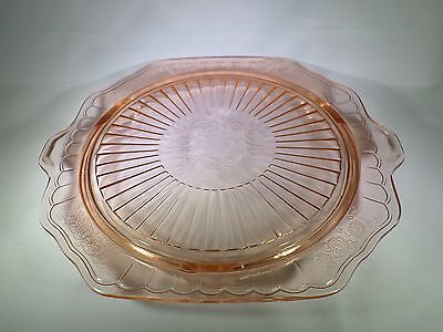 Mayfair Open Rose Pink Depression Glass Footed Cake Plate or Platter