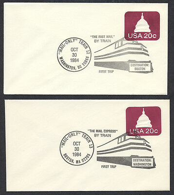 Mail Only Train Washington – Boston First Trip 1984 Amtrak US Cover
