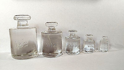 Rare Antique Pharmaceutical Glass Balance Weights – Five