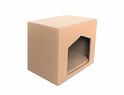 Andevan™  USA Made Corrugated Cardboard Cat House With Scratching Pad / Board