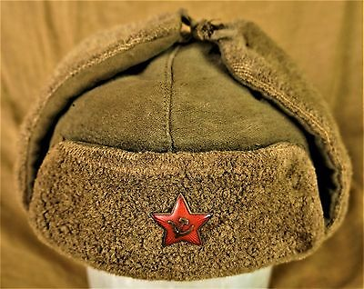 Original WWII Russian Army M-40 Ushanka Winter Hat with Enameled Red Star Badge