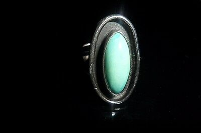 Vintage native American sterling silver turquoise shadow box ring 6.5 / 10 grams