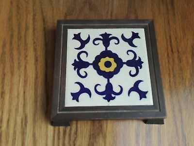 Vintage VTG Blue White Yellow Design Tile Trivet Orion Monterrey Carved Wood EUC