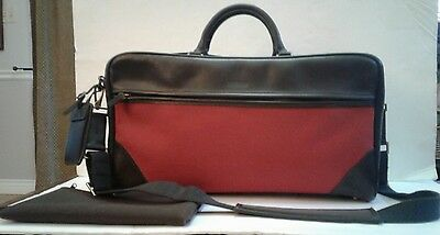 Vintage HARTMANN Carry On Travel Luggage Overnight Bag Leather Red Canvas
