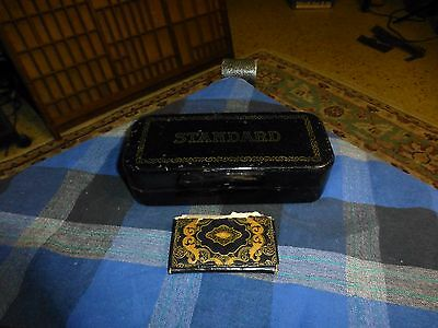 Antique STANDARD Sewing Machine Attachment Metal Box W/ Attachments & Pouch