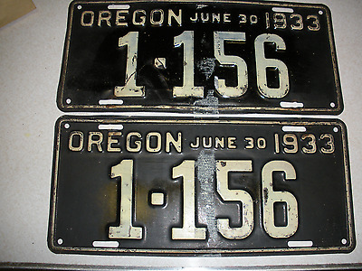 Pair    June 1933 Oregon License Plates Check Them Out