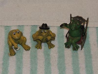 Set of 3 Vintage Frog Figures Figurines Playing Cards Rocking Chair