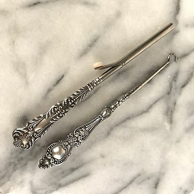 Lot Antique Ornate Repousse Sterling Silver Curling Iron & Button Hook