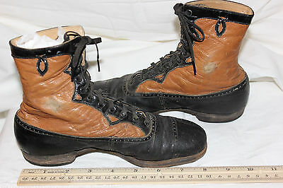 Antique Victorian Childs Boots Shoes Black and tan Girls. #12