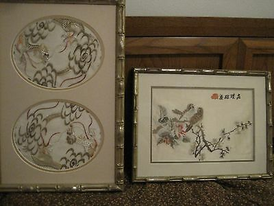 Vintage pair Silk Embroidered Bird/Dragon Wall Art  Asian Oriental Embroidery