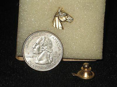 """Vintage Brass Horse Head Hat pin or Lapel Pin Tie Tack small 1/2"""""""