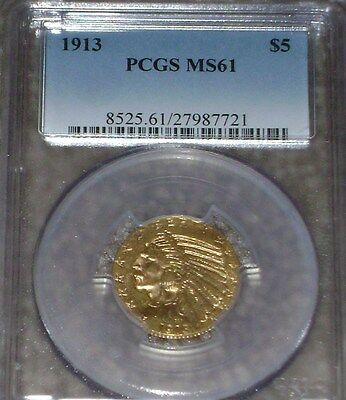 1913 $5 Gold Indian PCGS MS61