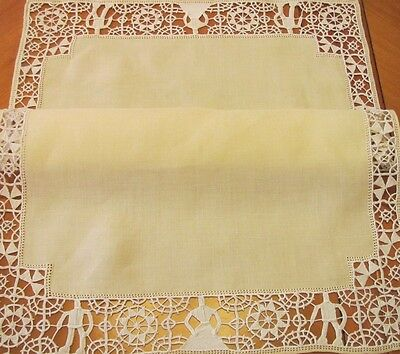 Antique Placemats Linen Vintage Needle Lace Set 12 pc Yellow Figural Man Woman
