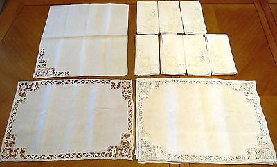 Placemats Napkins Linen Lace Reticella Needlelace 16 pc Antique Vintage Set