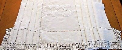 Antique Vintage French Sheet White Monogram V S Metis Linen Lace Edging