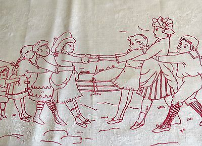 Table Runner Embroidered Children Table Doily Tray Cloth Antique Vintage Redwork
