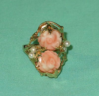 Vintage 14k Yellow Gold Rose Carved Hawaiian Coral and Pearl Ring ~ Size 8.25