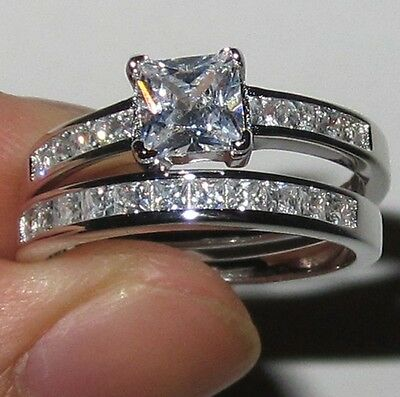 Size 5/K Lady 925 silver Square White Sapphire Wedding Engagement Band Ring Set
