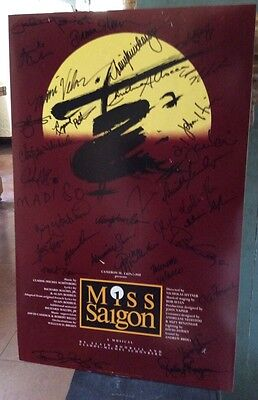 1988 MUSICAL MISS SAIGON BROADWAY THEATRE POSTER Signed AUTOGRAPHED BY CAST