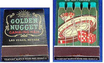 Vtg Matchbook Golden Nugget Gambling Hall Las Vegas Lion Feature Matches UNUSED
