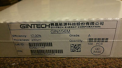 GINTECH solar cells   17.0 eff new in sealed boxes!  100pc per box  A GRADE!!!!!