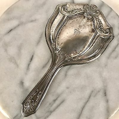 Antique Webster Sterling Silver Vanity Beveled Hand Mirror 10""