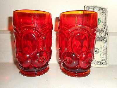 "Antique/Vintage Pair of L.E. Smith Amberina Moon/Stars 4.75"" X 3"" Glass Tumblers"