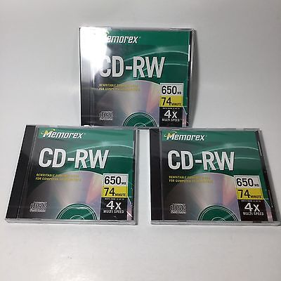 New Lot Of 3 Memorex CD-RW Rewritable 650 MB 74 Min Blank Disc Media Sealed