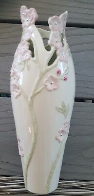 "RARE Lenox Pink Cherry Blossom Large Vase 8 1/2"" Beautiful Fine Bone China NIB"
