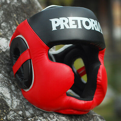 Leather Boxing Martial Arts Sparring Padded Helmet / Head Gear /Head Guard