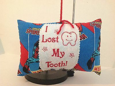 HANDMADE SPIDER MAN Lost Tooth   Pillow