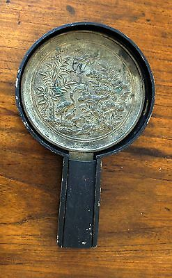 Antique Asian bronze mirror in 3-piece lacquer box with slide cover over handle